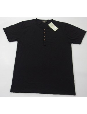 STOCK WHOLESALE MEN'S SHORT SLEEVE HENLEY T - SHIRT