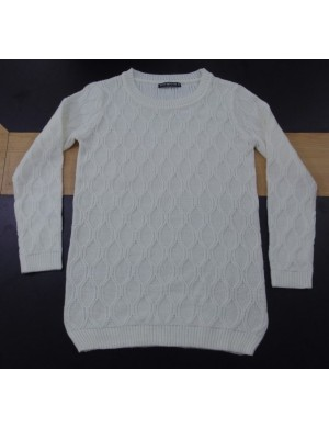 STOCK WHOLESALE LADIES LONG SLEEVE CABLE SWEATER