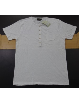 STOCK WHOLESALE MEN'S SHORT SLEEVE HENLEY FASHION T - SHIRT
